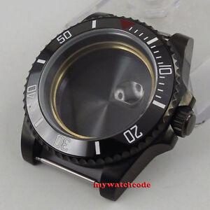 40mm sapphire glass black ceramic PVD bezel Watch Case fit 2824 2836 MOVEMENT