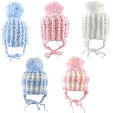 Baby Boys Girls Chin Tie Pom Pom Hat Knitted 3-6 & 6-12 Months CL4253