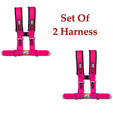 50 Caliber Racing Safety Seat Belt Race 2 qty 4 Point Pink Harness RZR 1000 XP