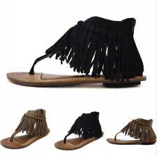 Women's Bohemia Clip Toe Sandals Flat Tassel Suede Fabric Shoes Summer Sandals
