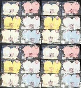 2 Pair Baby Anti Scratch Mittens Mitts Pink Blue White Cream Newborn 100% Cotton