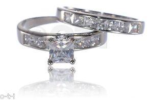 Princess Square White Sapphire CZ Ring Engagement Wedding Set Sterling Silver