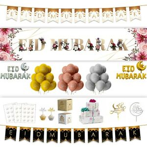EID MUBARAK DECORATIONS 21' Banner Party Flags Bunting Gift Balloons Gold MM