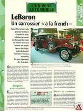 LeBaron Carrossier Chrysler Agence Design Stutz DV 32 USA Car Auto FICHE FRANCE
