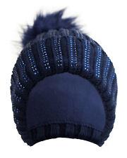 Mütze Winter Kunstfellbommel und Glitzersteinchen gefüttert Strickmütze Blau