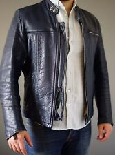 Blue Leather Jacket - Distressed! Men's Racer Style Punk Size S Small / M Medium