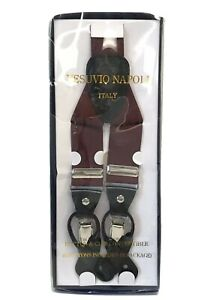 New Y Back Men's Vesuvio Napoli Suspenders Braces Button Or Clip On burgundy