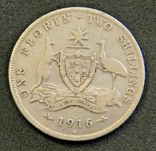 1916 Australian Silver 2/- TWO Shilling Florin (TWO BOB) KING GEORGE V Good