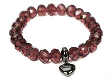Fiorelli Drop Heart Charm Burgundy Glass Womens Ladies Bracelet