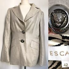 Escada Gold 100% Leinen Jacke Blazer. SZ 42 (UK 16). metallic