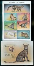 GAMBIA : Cats. Scarce Imperforated set & Souvenir Sheet. Very Fine, Mint NH.