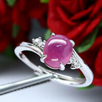 NATURAL 7 X 9 mm. CABOCHON RED RUBY & WHITE CZ RING 925 STERLING SILVER