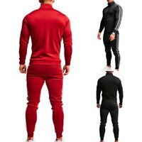 Homme Rayé Zipper Sweats à Manches Longeus+Cordon Pantalons Vêtement de Sport