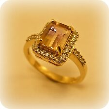 Ametrine and White Topaz 9 carat Gold Cluster Ring