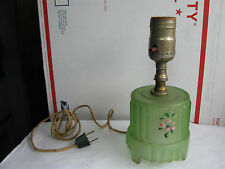 ART DECO Green VASELINE satin glass TABLE LAMP,antique,boudior,uranium