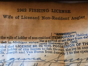 1942 Michigan Wife Of Non-resident Fishing License:Wow!
