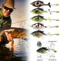 Tail Propeller 2 Segment VMC Hooks Fish Bait Popper Tail Fishing Lure C9E1