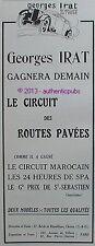PUBLICITE VOITURE GEORGES IRAT CIRCUIT MAROCAIN 24 HEURES DE SPA DE 1927 AD CAR