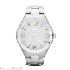 NEW ADIDAS SILVER TONE STAINLESS STEEL,WHITE DIAL MULTI COLOR+DATE WATCH-ADH2690