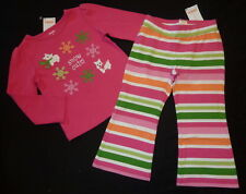 NWT 2T Gymboree Cheery all the Way pink snowflake top & striped knit pants set