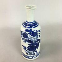 Japanese Ceramic Sake Bottle Vtg Pottery Floral Tokkuri Blue Sometsuke TS166