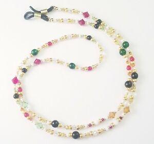 Beaded Eyeglass Chain/Holder~Gold Multi~Crystal