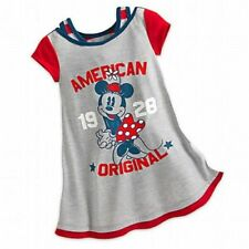 NWT Disney Store Girls Minnie Mouse Americana 5/6 Nightgown Nightshirt July 4th