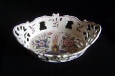 Vintage Faience Tin Glazed Basket: Hand Painted Flowers & Birds: Agueda Portugal