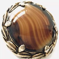 Vintage Large Gold Glass Banded Agate Scottish Style Brooch GIFT BOXED
