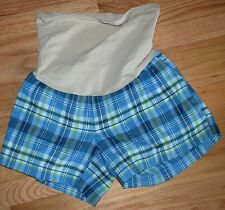 A Pea In The Pod Maternity Shorts Blue Plaid Size M - Full Nude Tummy Panel