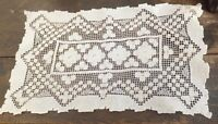 Antique Cotton Handmade Lace Dressing Table Cloth  Cluny Lace or Crochet ?