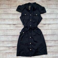 Womens Size 4 Express Black Military Style Button Belt Dress