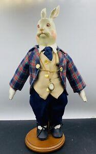 Martha Chase Folk Art Primitive Cloth Doll Alice in Wonderland The White Rabbit