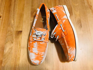 Ralph Lauren Polo Merton suede boat shoes orange abstract NWOB size 9.5