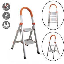 2 Step Ladder Aluminum Folding Home Ladder Folding Step Stool Stepladders 330lbs
