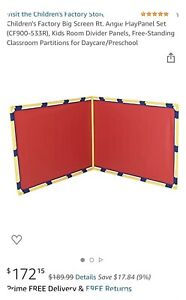 Children's Factory Daycare Classroom right angle play Divider panels-red