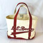 LL Bean Medium Script Sewn Logo Canvas Boat Tote White Red Trim Bag Freeport