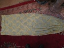 "VINTAGE FRENCH DAMASK UNLINED DRAPES CURTAINS GOLD & LIGHT BLUE  88-1/2"" x 62"""