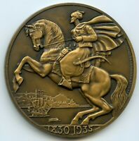 1935 VILLE D'ALGER FRENCH SHIP ART DECO BRONZE MEDAL BY RAYMOND DELAMARRE