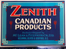 Vintage ZENITH Canadian Products Fruit Crate Paper Label - BC, Canada