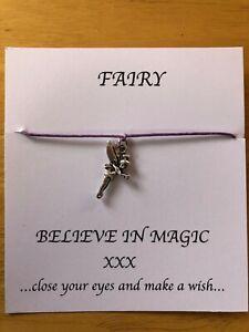 Handmade Wish / Friendship Bracelet Tibetan Silver Fairy Charm ~ lilac