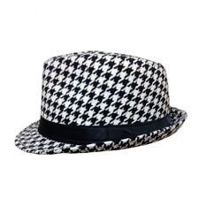 Retro Women Houndstooth Check Fedora Felt Hats Feminino Vintage Panama Lady Caps