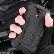 Samsung Galaxy S4 Hybrid Tank Armor Holster Case Cover w/Kick Stand Black Combo*