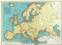 1943 Antique Europe Map Vintage Collectible Map of Europe Gallery Wall Art 7362