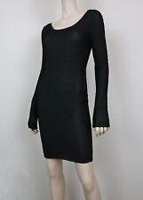 NWT $178 BCBG MAXAZRIA Tiered Lace Overlay Dress Open Back Long Sleeve Black S