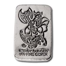 1  -  5 oz. 999 Fine Silver Bar - Monarch Viking Battle Axe - Hand Poured