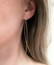 CHIC Urban Artisanal Gold Plated Thin Metal Wire Chain Threader Earrings