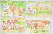 4 Farmyard Farm Animals & Babies wood Puzzles Set Kids 12 Pieces Each Vocabulary