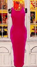 Betsey Johnson VINTAGE Dress STRETCH VELVET Maxi LOW BACK Long PINK M 8 10 12