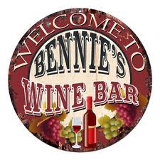 Cmwb-0371 Welcome to Bennie'S Wine Bar Chic Tin Sign Man Cave Decor Gift